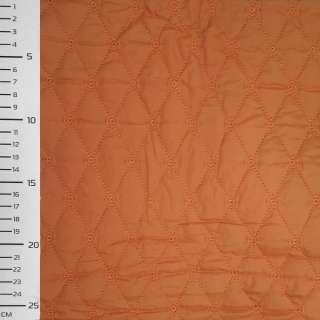 """Ткань плащевая стеганая терракотовая светлая матовая """"ромбы"""" ш.145"""
