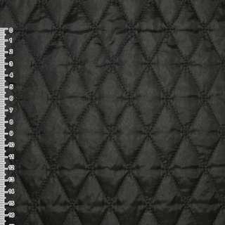 "Ткань плащевая стеганая черная матовая ""ромбы"" ш.145"