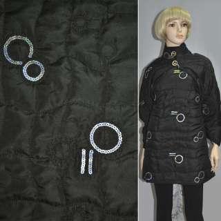 Ткань плащевая стеганая черная с абстрактным рисунком и пайетками