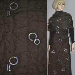 Ткань плащевая стеганая с абстрактным рисунком и пайетками темная