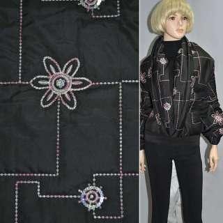 Ткань плащевая стеганая черная с вышитым цветком и пайетками