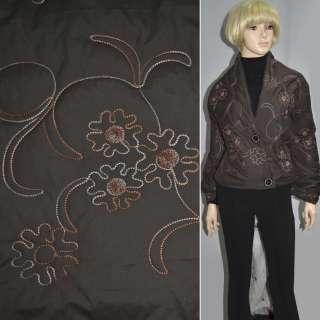 Ткань плащевая стеганая с вышитыми цветами коричневая темная