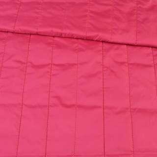 Ткань плащевая стеганая малиновая матовая полоска (5см), ш.150