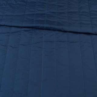 Ткань плащевая стеганая синяя темная матовая полоска (5см), ш.145