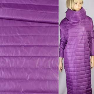 Ткань плащевая стеганая лиловая на подкладке полоска 5см, ш.150