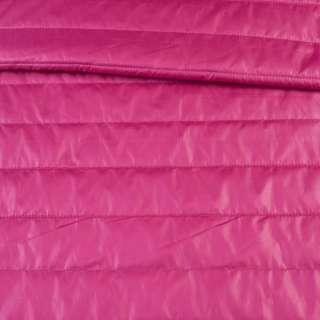Ткань плащевая стеганая малиновая на подкладке полоска 5см, ш.150