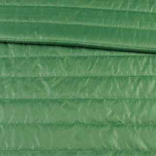 Ткань плащевая стеганая зеленая на подкладке полоска 5см, ш.150