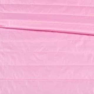 Ткань плащевая стеганая розовая на подкладке полоска 5см, ш.150