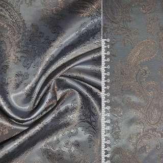 """Вискоза жаккардовая серо-коричневая хамелеон """"огурцы"""" ш.145"""