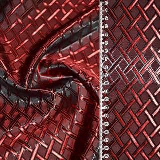 Вискоза жаккардовая красно-черная хамелеон диагональная клетка ш.140