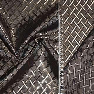 Вискоза жаккардовая коричнево-бежевая диагональная клетка ш.140