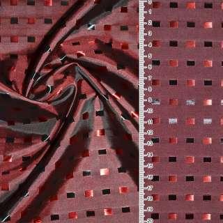 Вискоза жаккардовая красная темная в черно-алые квадраты ш.145