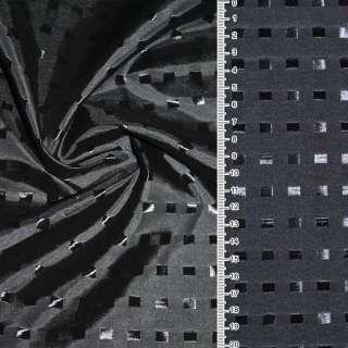 Вискоза жаккардовая серая темная в черные квадраты ш.145