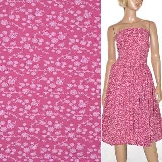 Поплин ярко-розовый с белыми цветами ш.150