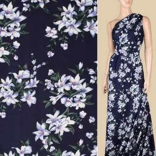 Поплин синий темный, бело-сиреневые лилии, ш.150