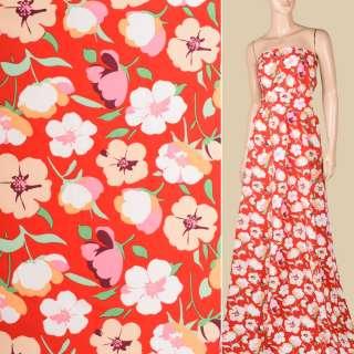 Поплин красный, белые, бежевые цветы, ш.150