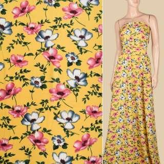 Поплин желтый, розовые, серые маки, ш.150