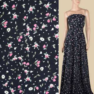 Поплин синий темный, белые, розовые цветочки, ш.155