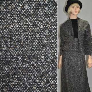 Рогожка букле пальтово-костюмная с шерстью, метанить золотистая, черно-белая, ш.150