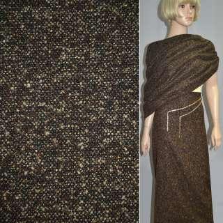 Рогожка букле пальтово-костюмная с шерстью, метанить золотистая, коричнево-черная, ш.150