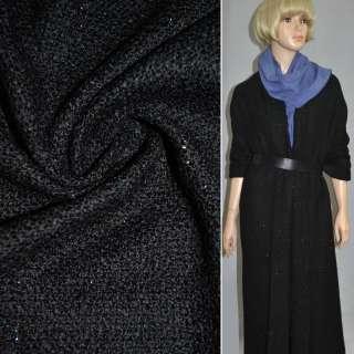Рогожка букле пальтово-костюмная с шерстью, метанить разноцветная, черная, ш.150