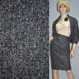Рогожка букле пальтово-костюмная с шерстью, метанить разноцветная, серая, ш.150
