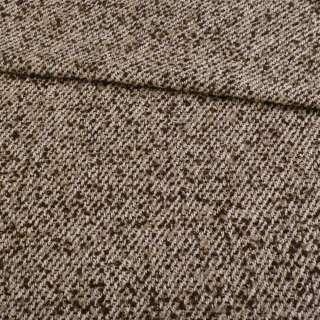 Букле пальтовое с шерстью меланж бежево-коричневое, ш.146