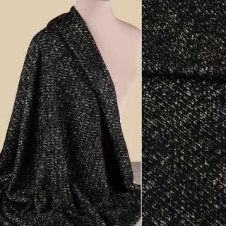 Букле пальтовое меланж черно-молочное, ш.150