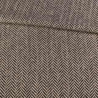 Букле пальтовое с шерстью в елочку крупную черно-белое, ш.150