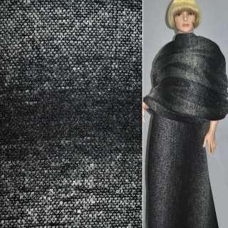 Рогожка букле пальтовая с шерстью в полосы омбре черно-белые, ш.150