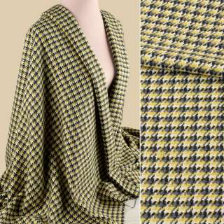 Рогожка пальтовая гусиная лапка желто-серая, ш.148