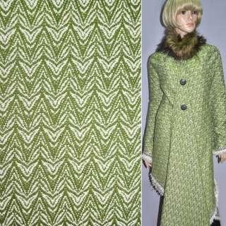 Рогожка пальтовая елочка зелено-белая, ш.150