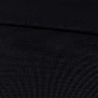Рогожка стрейч черная в рельефную клетку, ш.130