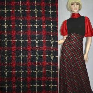 Рогожка букле пальтово-костюмная с шерстью в клетку бежево-красную, черную, ш.150