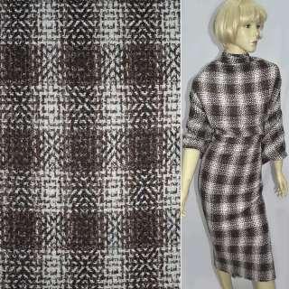 Рогожка букле пальтово-костюмная с шерстью клетка омбре коричнево-белая, ш.150