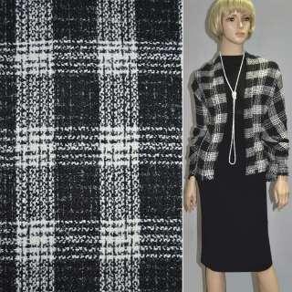 Рогожка букле пальтово-костюмная с шерстью клетка черно-белая, ш.150