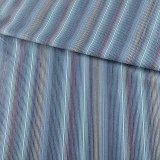 Ткань рубашечная голубая в серо-сине-бежевые полоски ш.145