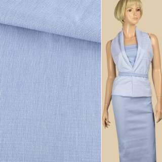Ткань рубашечная стрейч бело-голубая ш.140