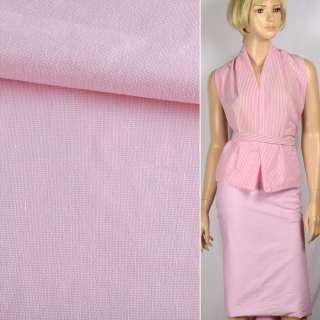 Ткань рубашечная стрейч бело-розовая ш.143