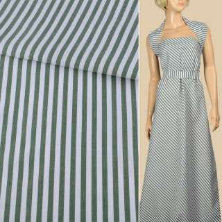 Ткань рубашечная в бело-зеленую полоску 6мм, ш.150