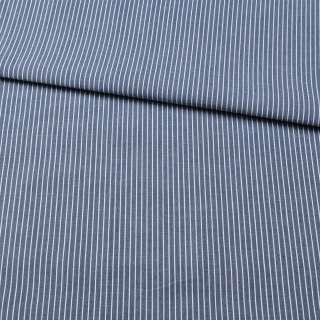 Ткань рубашечная синяя в тонкую белую полоску, ш.150