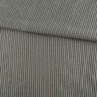 Ткань рубашечная серая в бежевую и оранжево-голубую полоску, ш.145