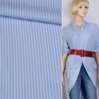 Вискоза рубашечная голубая в белую полоску 4*1мм ш.140