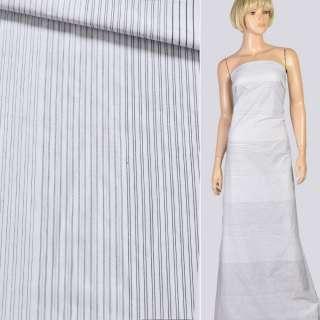 Ткань рубашечная белая в тонкую черную, бежевую полоску, ш.143
