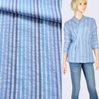 Ткань рубашечная в белую, синюю, сиреневую полоску, ш.150