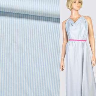 Ткань рубашечная белая в голубую полоску, ш.145