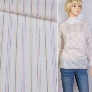 Поплин рубашечный белый в желтую, розовую, серую полосу ш.146