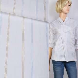Поплин рубашечный белый в голубую, бежевую полосу 18мм ш.145