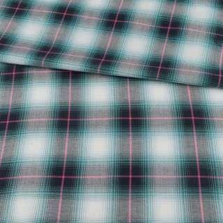 Шотландка в бирюзово-белую клетку ш.150