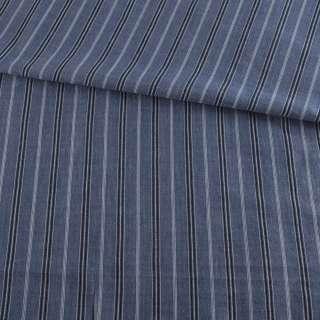 Ткань рубашечная* синяя в черно-голубую полоску, ш.145